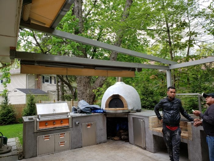Pizza Oven under Alutex Solaria Retractable Canopy - Chatham NJ | Breslow Home Design Center