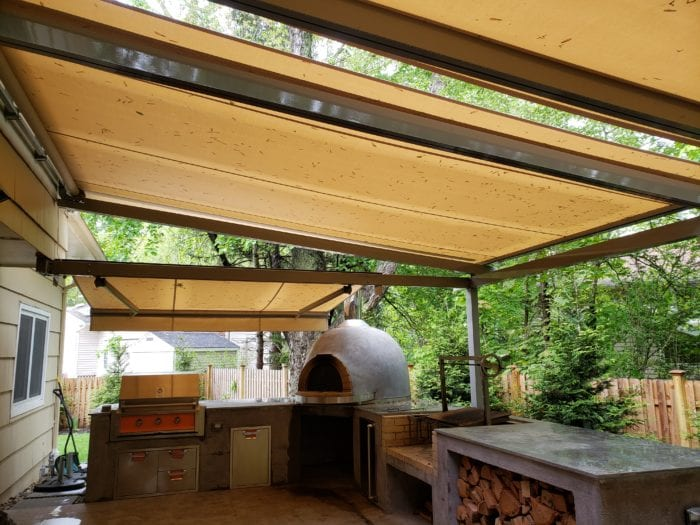 Alutex Solaria Retractable Canopy over Pizza Oven - Chatham NJ | Breslow Home Design Center