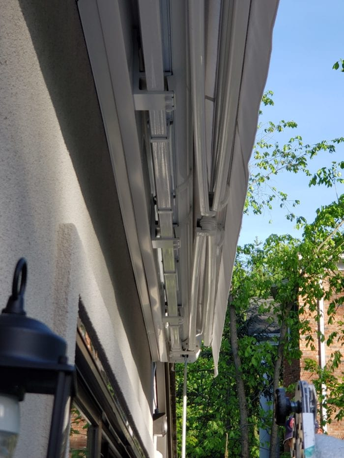 Watchung NJ Home Awning Installation - View from Below | Breslow Home Design Center