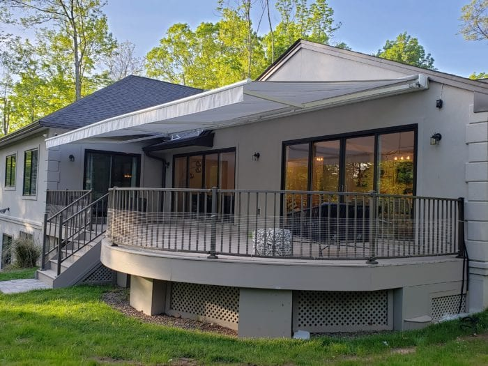 Watchung NJ Home Awning Installation - Awning Side View | Breslow Home Design Center