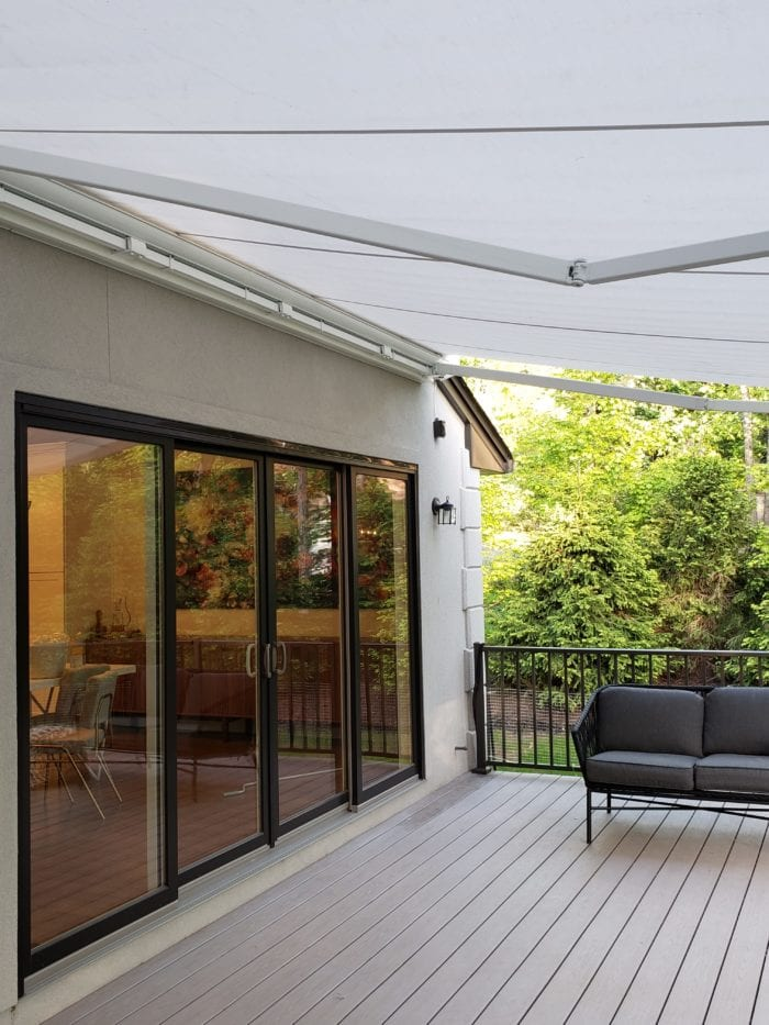 Watchung NJ Home Awning Installation - Awning Under View | Breslow Home Design Center