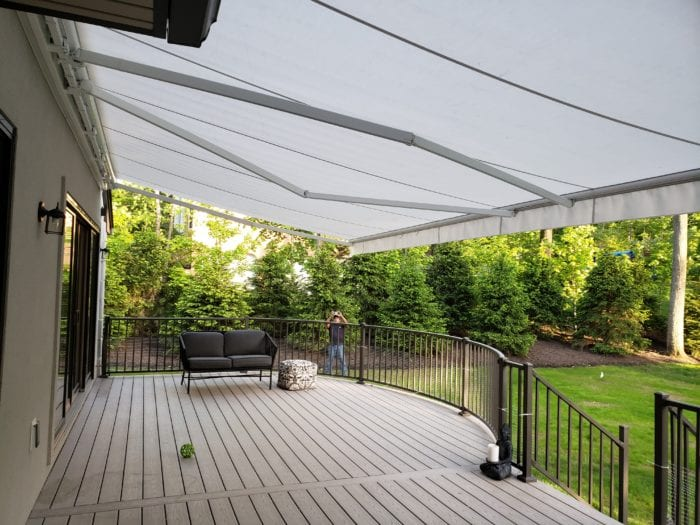 Watchung NJ Home Awning Installation - Awning Under View to back yard | Breslow Home Design Center