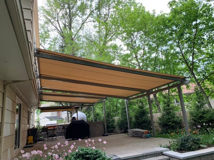 Side View of completed Alutex Solaria Retractable Canopy - Chatham NJ | Breslow Home Design Center
