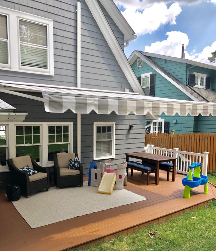 Alutex Madera Awning - side view - installed in Montclair NJ by Breslow Home Design Center