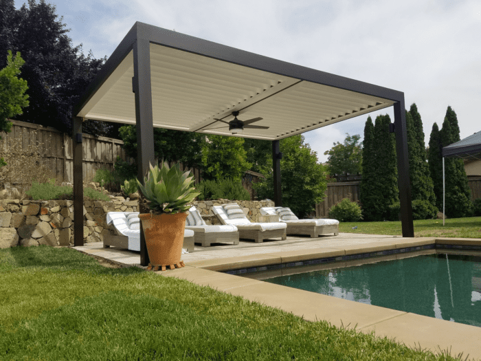 Apollo Pool Side View - Louvered Roof System - Breslow Home Design Center