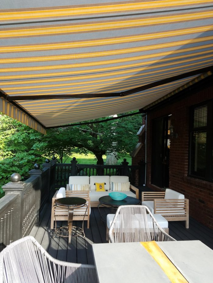 Awning under from right far – Alutex Madera – Montclair NJ by Breslow Home Design Center