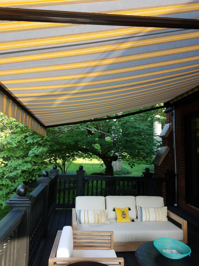 Awning under from right near – Alutex Madera – Montclair NJ by Breslow Home Design Center