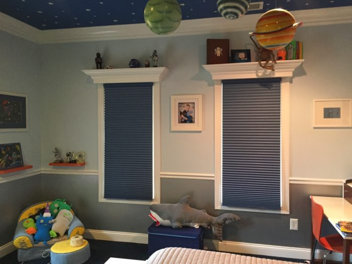 Hunter Douglas Duettes for Boys Bedrooms - darkening - closed installed by Breslow Home Design Center