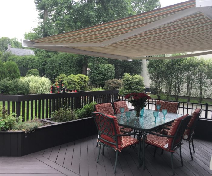 NuImage k300 fully cassetted awning - opened below - by Breslow Home Design Center