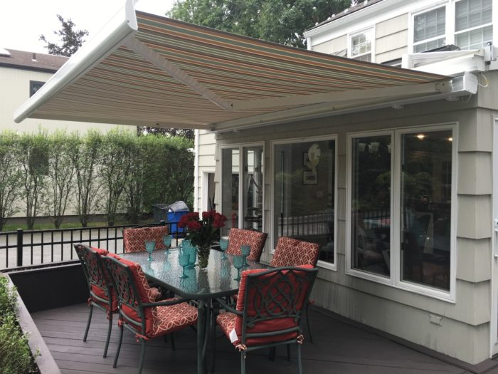 NuImage k300 fully cassetted awning - opened side - by Breslow Home Design Center