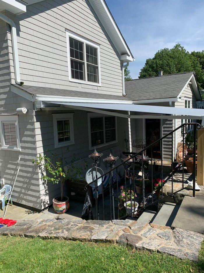 Open NuImage K300 Awning installed in Hastings-on-Hudson NY by Breslow Home Design Center