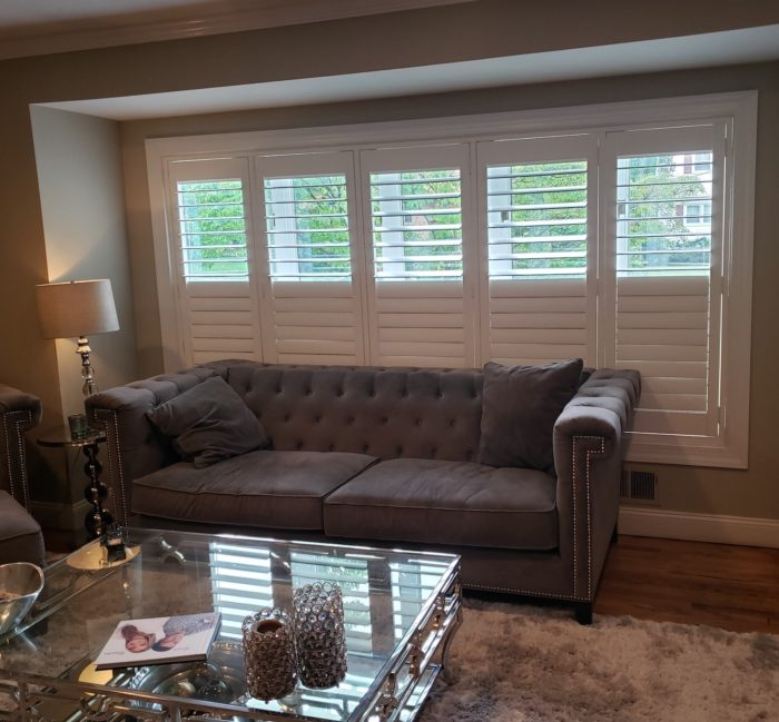 Hunter Douglas NewStyle Plantation Shutters Bay Bow Window inside center view - Livingston NJ - Breslow Home Design Center