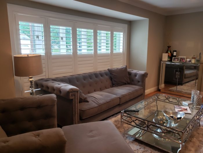 Hunter Douglas NewStyle Plantation Shutters Bay Bow Window inside left view - Livingston NJ - Breslow Home Design Center