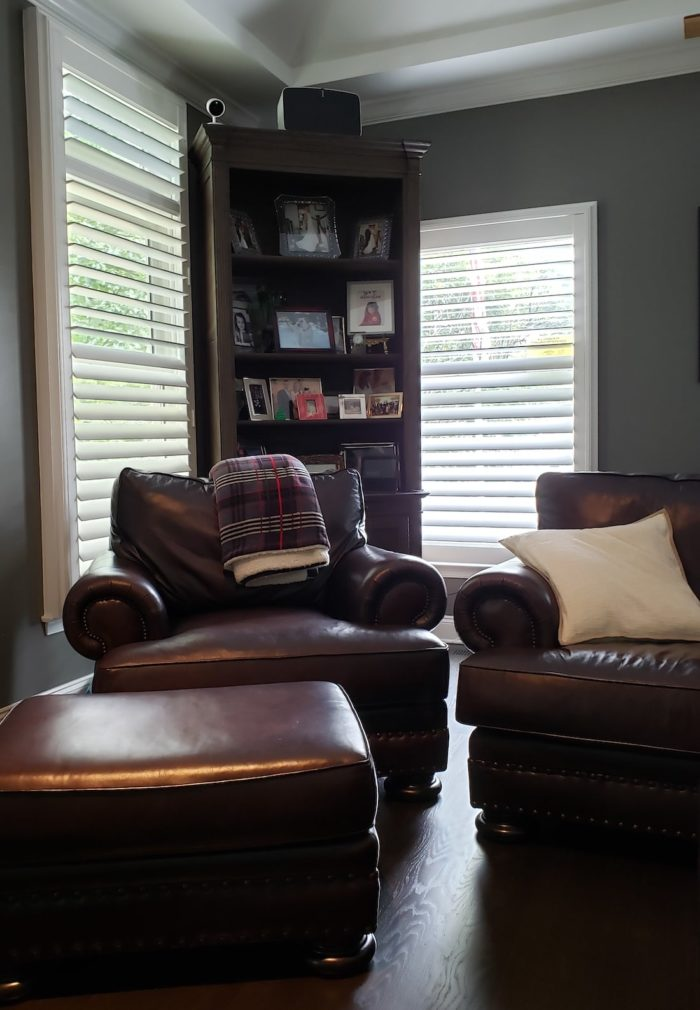 Louvered Plantation Shutters - dark room - Mendham NJ - Breslow Home Design Center