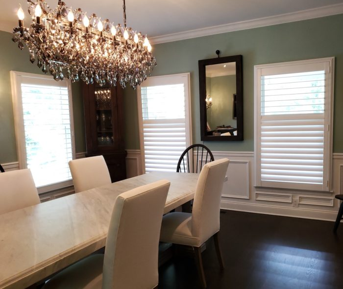 Louvered Plantation Shutters - dining room - Mendham NJ - Breslow Home Design Center