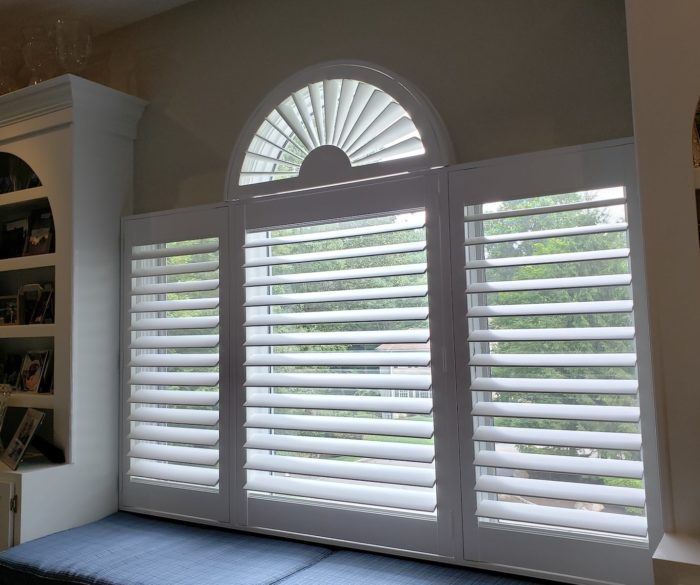 Louvered Plantation Shutters - dining room three - Mendham NJ - Breslow Home Design Center