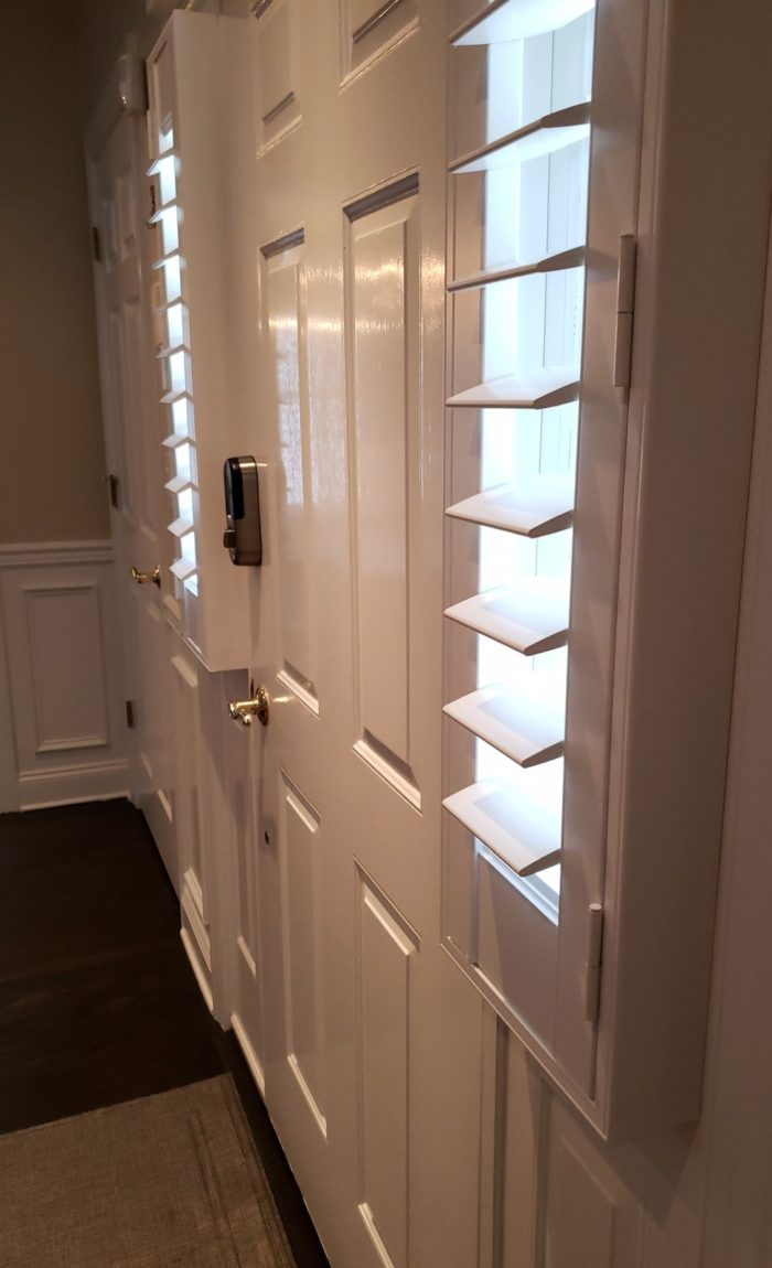 Louvered Plantation Shutters - front door - Mendham NJ - Breslow Home Design Center
