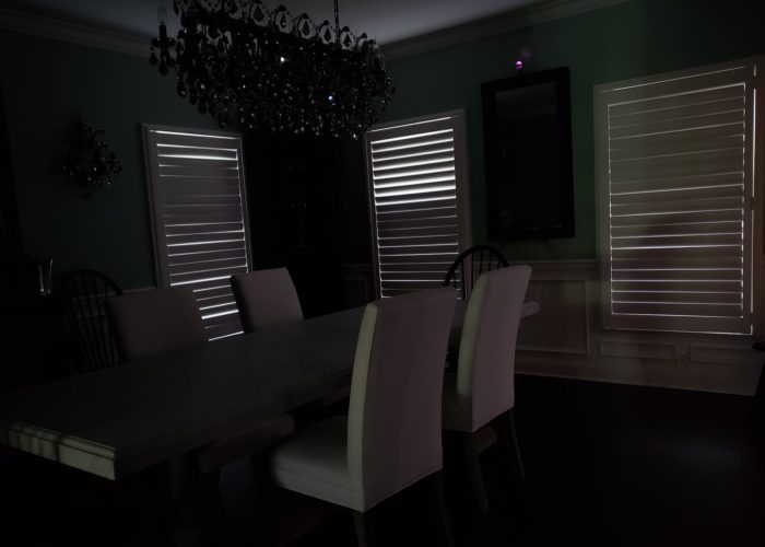 Louvered Plantation Shutters - room darkening - Mendham NJ - Breslow Home Design Center