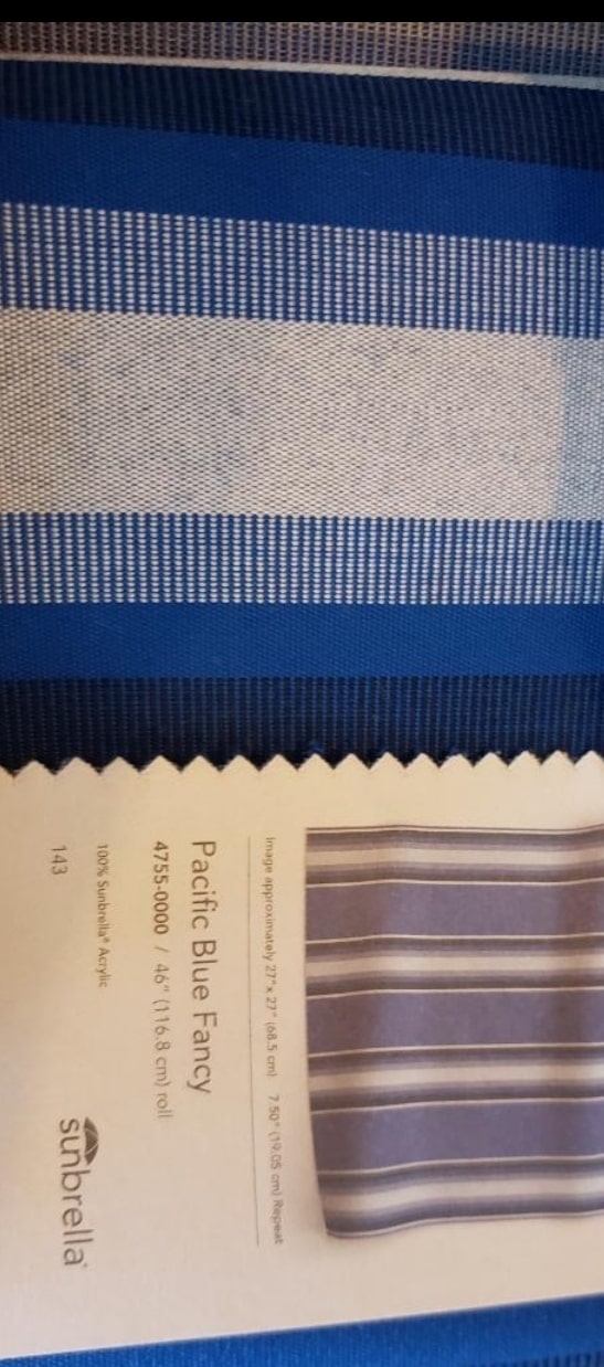 Sunbrella Pacific Blue Fancy 4755 fabric for Alutex Madera awning – Zona Libre restaurant – Union City NJ - Breslow Home Design Center