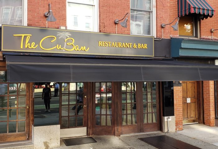 The CuBan restaurant open front above Alutex Madera awning - Hoboken NJ - Breslow Home Design Center