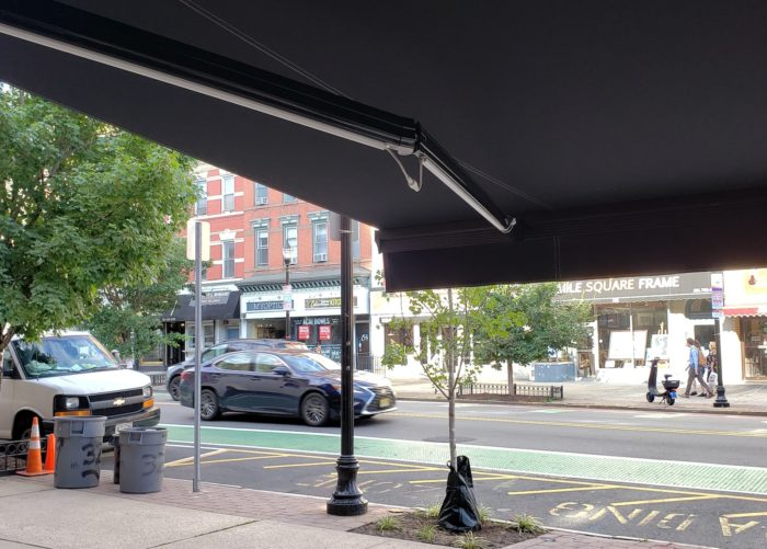 The CuBan restaurant under open Alutex Madera awning - Hoboken NJ - Breslow Home Design Center