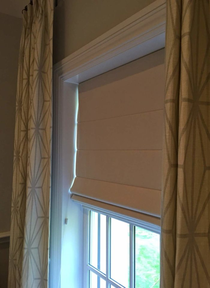 Classic Roman Shade with Drapery - close - Breslow Home Design Center