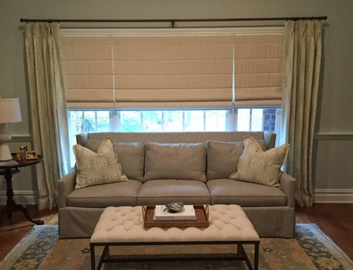 Classic Roman Shades with Drapery - Breslow Home Design Center
