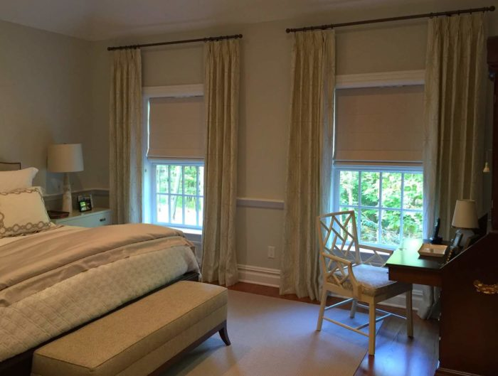 Classic Roman Shades with Drapery - Bedroom - Breslow Home Design Center