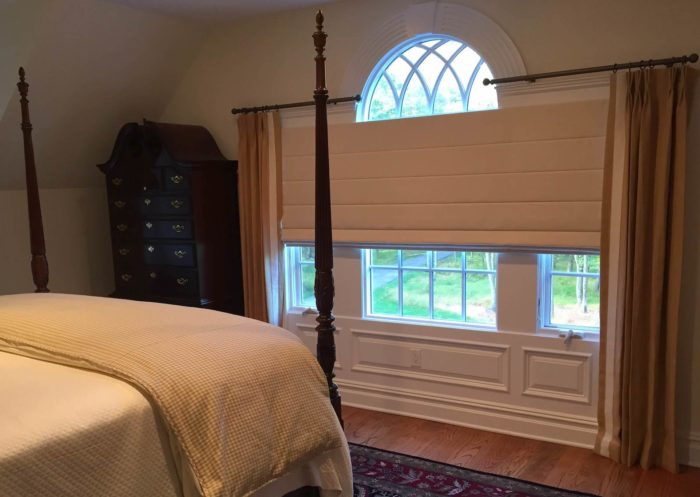 Classic Roman Shades with Drapery - Bedroom-wide - Breslow Home Design Center