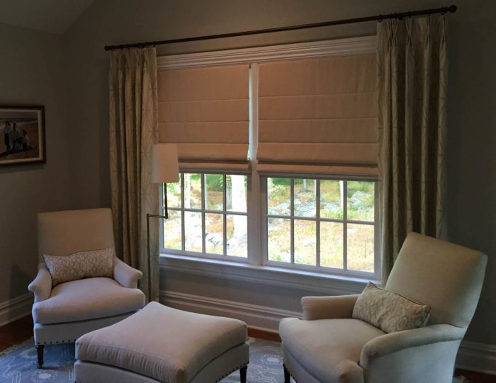 Classic Roman Shades with Drapery - Sitting Room - Breslow Home Design Center