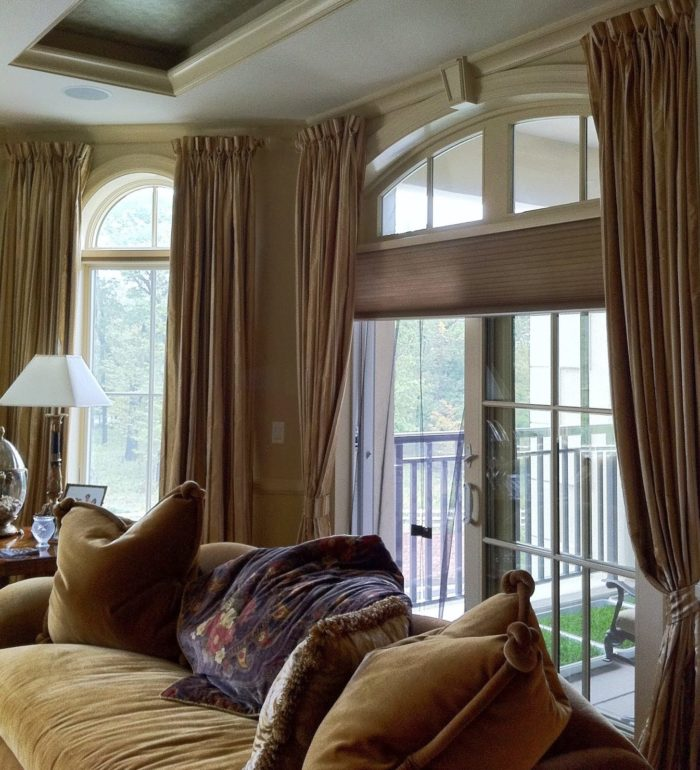 Duettes with Draperies - Living Room - Breslow Home Design Center