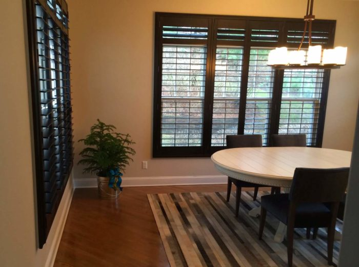Hunter Douglas - Heritance Real Hardwood Shutters - Dining Room side - Breslow Home Design Center