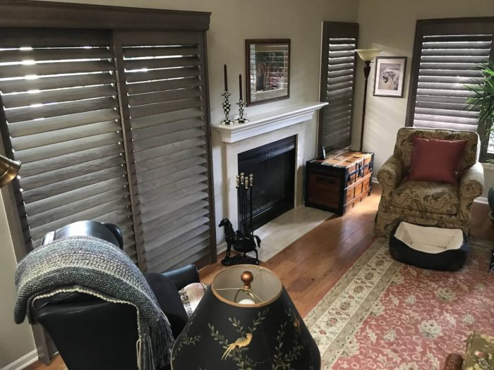 Hunter Douglas - Heritance Real Hardwood Shutters - Living Room - Breslow Home Design Center