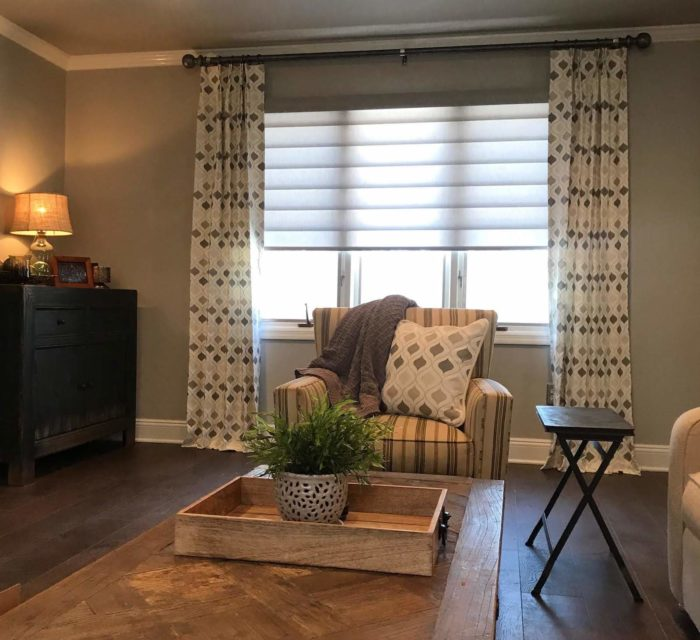 Hunter Douglas Pirouette with Draperies - Sitting Room - Breslow Home Design Center