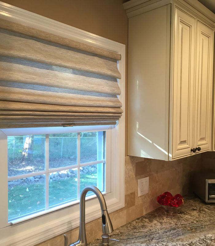 Stacking Vignette Roman Shade - Kitchen - Breslow Home Design Center