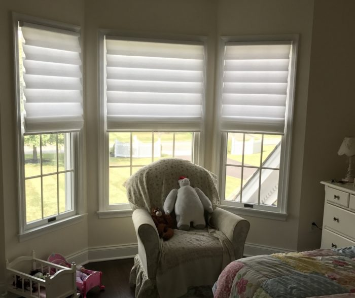 Stacking Vignette Roman Shades- Bay Window - Breslow Home Design Center