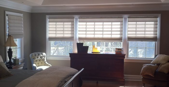 Stacking Vignette Roman Shades - Bedroom - Breslow Home Design Center