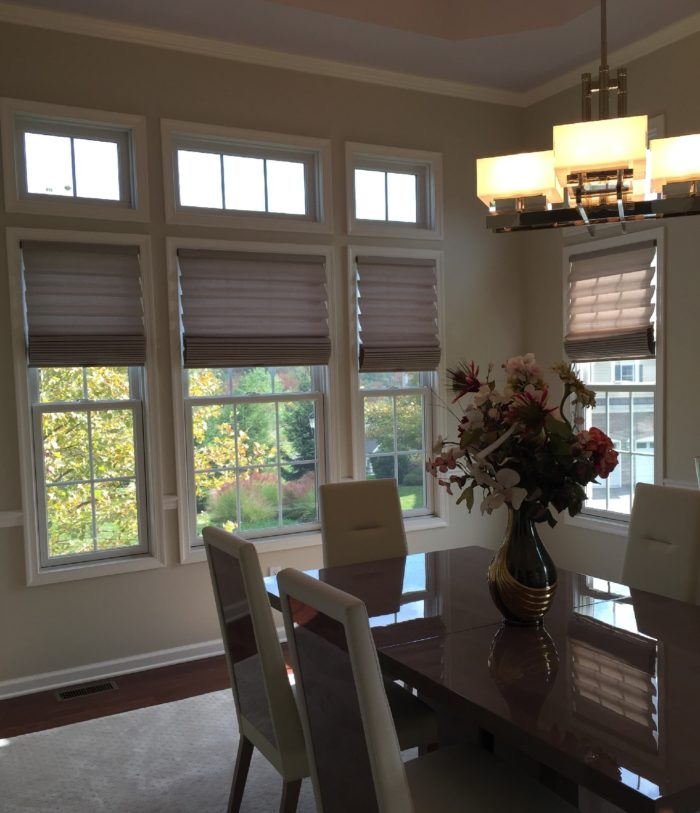 Stacking Vignette Roman Shades- Dining Room - Breslow Home Design Center