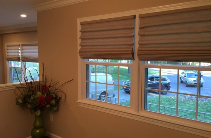 Stacking Vignette Roman Shades- Family Room - Breslow Home Design Center