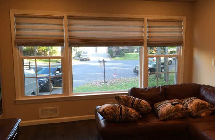 Stacking Vignette Roman Shades- Living Room - Breslow Home Design Center