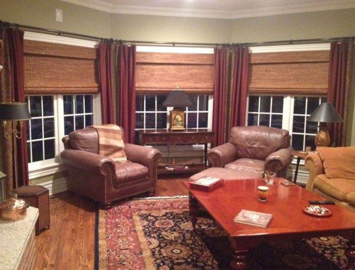 Woven Roman Shades with Drapery - Breslow Home Design Center