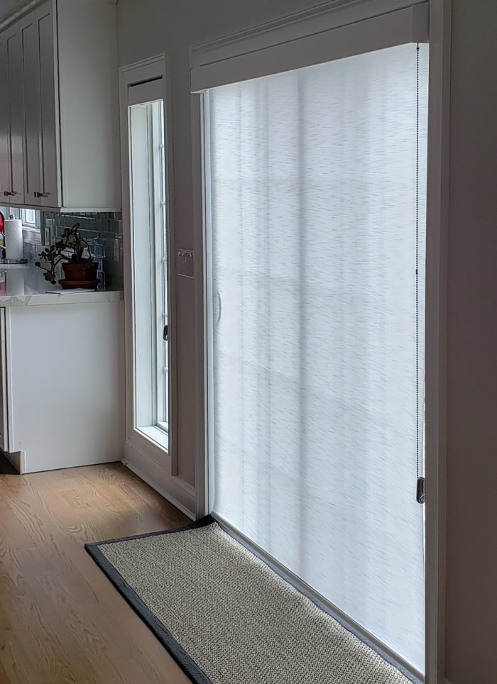 Designer Roller Shade on Slider Door - Breslow Home Design Center