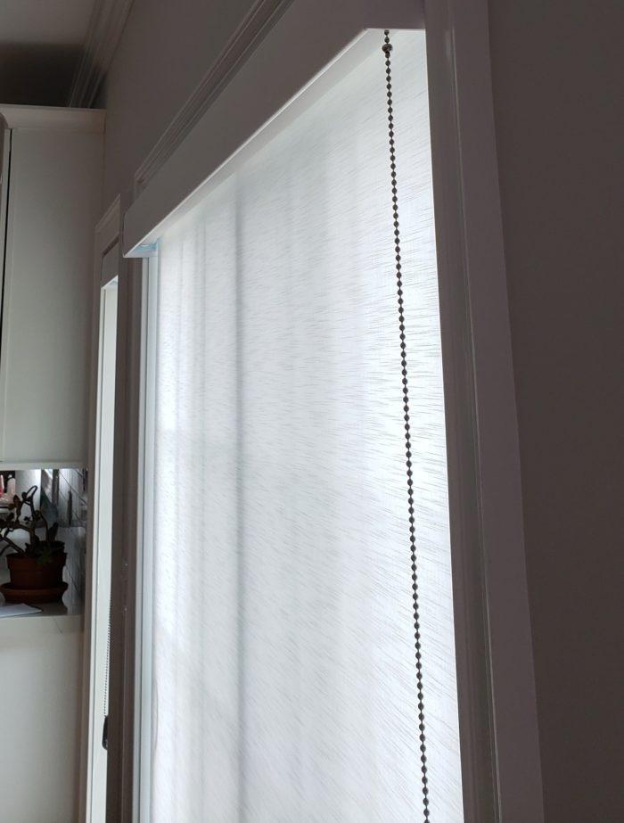 Designer Roller Shade on Slider Door - Close Up - Breslow Home Design Center