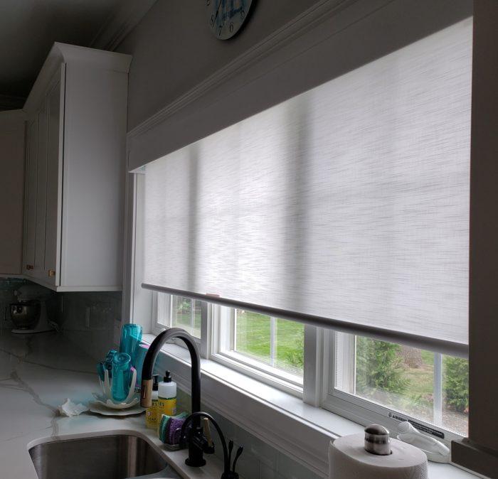 Designer Roller Shades Over Kitchen Sink - Breslow Home Design Center