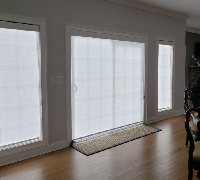 Designer Roller Shades on Slider - Closed - Breslow Home Design Center