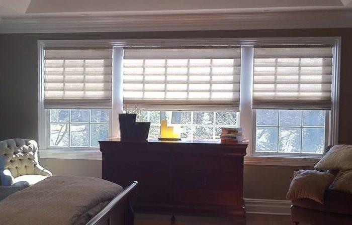 Hunter Douglas Stacking Vignettes in Bedroom - Breslow Home Design Center