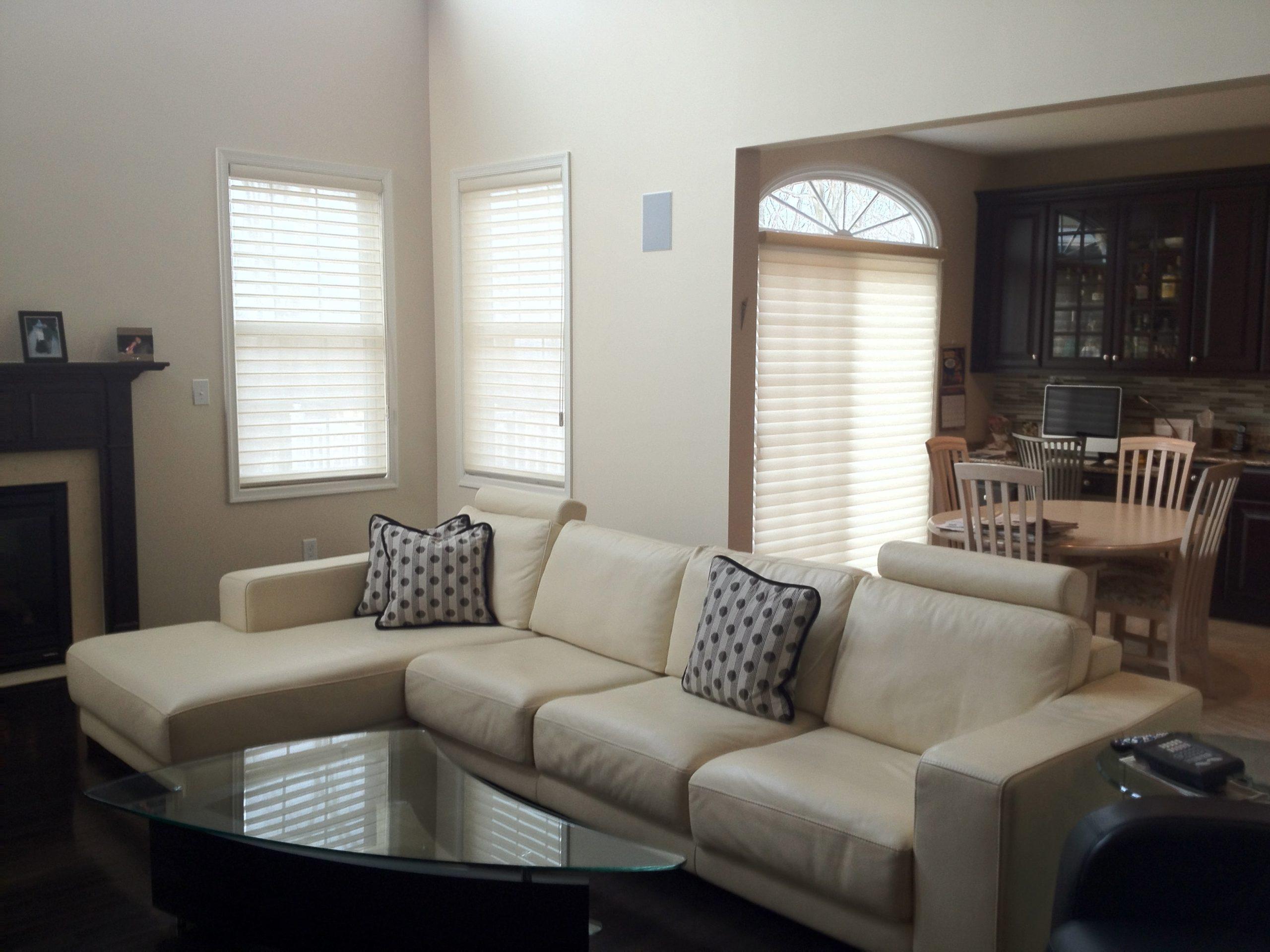 Silhouettes installed in Family Room - Short Hills, NJ - Breslow Home Design Center
