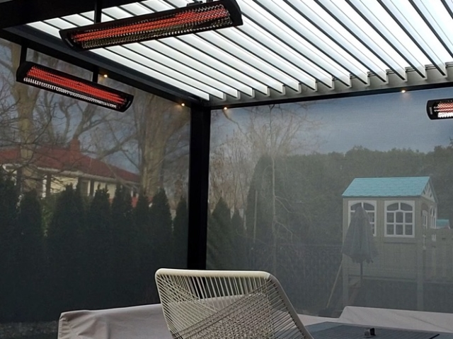 Build out your Apollo system with Heaters, motorized shades, lights & fans.  Motorized pergolas by Breslow Home Design.