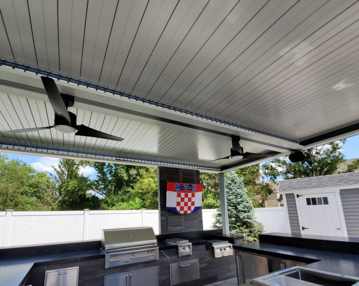 Apollo Louvered Roof Installed Over Outdoor Kitchen - Closed Louvers - Breslow Home Design Center