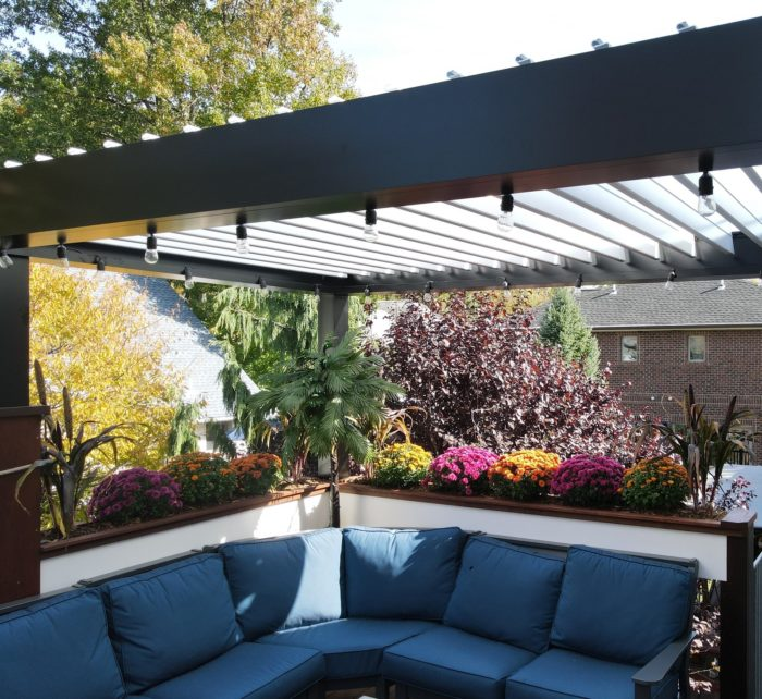 Apollo Louvered Roof Installed Over Seating Area - Fort Lee, NJ - Breslow Home Design Center
